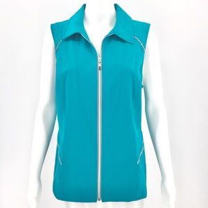 CHICOS Vest M 8 Cozumel Blue Full Zip Athleisure